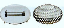 Flat Base with Pin & Domed Screen Set, 40x30mm, Nickel Plated, (4 sets)