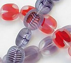 12x14mm Oval Windowpane Bead (aka Hand-Cuts or Table-Cuts or Polished), fuchsia/pearl, (10 beads)