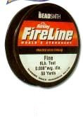 "FireLine Braided Bead Cord, .005"" diameter, Extra Fine Size B, (4 pound test), 50 yards, Crystal (really translucent white), (1 50 yd spool) SKU 401282.CR-B-4-6-50"