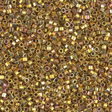 Delica Beads (Miyuki), size 11/0 (same as 12/0), SKU 195006.DB11-0501cut, gold iris 24KT cut, (5gram tube, apprx 950 beads)