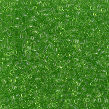 Delica Beads (Miyuki), size 11/0 (same as 12/0), SKU 195006.DB11-1106, transparent lime, (10gram tube, apprx 1900 beads)