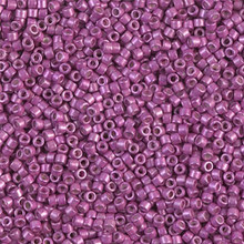 Delica Beads (Miyuki), size 11/0 (same as 12/0), SKU 195006.DB11-1184, galvanized semi-frosted magenta, (10gram tube, apprx 1900 beads)