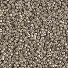 Delica Beads (Miyuki), size 11/0 (same as 12/0), SKU 195006.DB11-1159, galvanized semi-frosted pewter, (10gram tube, apprx 1900 beads)