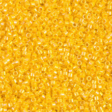 Delica Beads (Miyuki), size 11/0 (same as 12/0), SKU 195006.DB11-1572, opaque canary AB, (10gram tube, apprx 1900 beads)