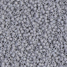 Delica Beads (Miyuki), size 11/0 (same as 12/0), SKU 195006.DB11-1598, matte opaque ghost gray AB, (10gram tube, apprx 1900 beads)