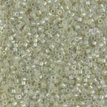 Delica Beads (Miyuki), size 11/0 (same as 12/0), SKU 195006.DB11-1765, sparkling celery lined opal AB, (10gram tube, apprx 1900 beads)