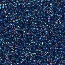 Delica Beads (Miyuki), size 11/0 (same as 12/0), SKU 195006.DB11-1763, emerald lined cobalt AB, (10gram tube, apprx 1900 beads)