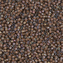 Delica Beads (Miyuki), size 11/0 (same as 12/0), SKU 195006.DB11-1790, white lined sable brown AB, (10gram tube, apprx 1900 beads)