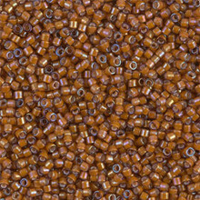 Delica Beads (Miyuki), size 11/0 (same as 12/0), SKU 195006.DB11-1779, white lined dark topaz AB, (10gram tube, apprx 1900 beads)