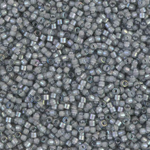 Delica Beads (Miyuki), size 11/0 (same as 12/0), SKU 195006.DB11-1793, white lined grey AB, (10gram tube, apprx 1900 beads)