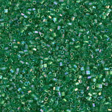 Japanese Miyuki Seed Beads, size 15/0, SKU 189015.MY15-0179cut, green transparent AB cut, (1 12-13gram tube - apprx 3500 beads)