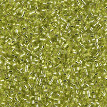 Miyuki 15/0 Small Delicas, SKU 195015.DBS15-0147, chartreuse silver lined, (1 10gram tube, apprx 2900 beads)
