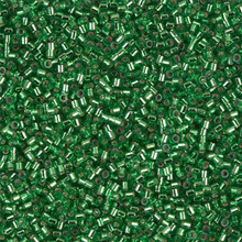Miyuki 15/0 Small Delicas, SKU 195015.DBS15-0046, green silver lined, (1 10gram tube, apprx 2900 beads)