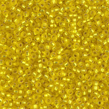Japanese Miyuki Seed Beads, size 11/0, SKU 111030.MY11-0006F, matte silver lined yellow, (1 28-30 gram tube, apprx 3080 beads)