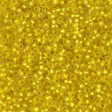 Japanese Miyuki Seed Beads, size 11/0, 0006F, matte silver lined yellow, (1 28-30 gram tube, apprx 3080 beads)