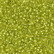 Japanese Miyuki Seed Beads, size 11/0, SKU 111030.MY11-0014F, matte chartreuse silver lined, (1 28-30 gram tube, apprx 3080 beads)