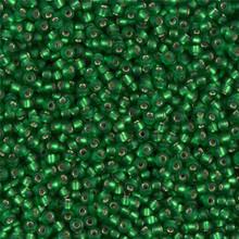 Japanese Miyuki Seed Beads, size 11/0, SKU 111030.MY11-0016F, matte silver lined green, (1 28-30 gram tube, apprx 3080 beads)