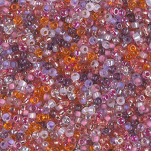 Japanese Miyuki Seed Beads, size 11/0, SKU 111030.MY11-MIX37, watermelon sunrise mix, (1 28-30 gram tube, apprx 3080 beads)