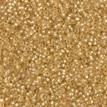 Japanese Miyuki Seed Beads, size 15/0, SKU 189015.MY15-0003F, matte silver lined gold, (1 12-15gram tube - apprx 3500 beads)