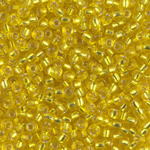 Japanese Miyuki Seed Beads, size 8/0, SKU 189008.MY8-0006, yellow silver lined, (1 26-28 gram tube, apprx 1120 beads)
