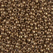 Japanese Miyuki Seed Beads, size 8/0, SKU 189008.MY8-0457L, metallic light bronze, (1 26-28 gram tube, apprx 1120 beads)