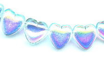14x15mm Glass Heart Bead, horizontal hole, crystal AB, (25 beads)