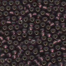 Japanese Miyuki Seed Beads, size 6/0, SKU 111031.MYK6-0013F, dark smoky amethyst matte silver lined, (1 tube, apprx 24-28 grams, apprx 315 beads per tube)