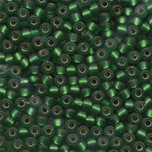 Japanese Miyuki Seed Beads, size 6/0, SKU 111031.MYK6-0016F, green matte silver lined, (1 tube, apprx 24-28 grams, apprx 315 beads per tube)