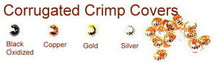 Gold-Plated, Corrugated Crimp Cover for Crimp Beads, 4mm, Medium, (12 Corrugated Crimp Covers)