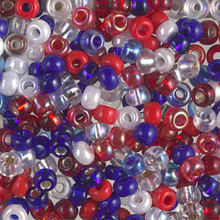 Japanese Miyuki Seed Beads, size 6/0, MIX 25, fourth of july mix, (1 tube, apprx 24-28 grams, apprx 315 beads per tube)