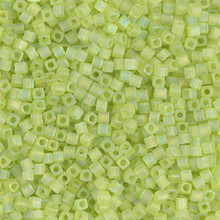 Japanese Miyuki 1.8mm CUBE Beads, SKU 189005.SB18-0143FR, matte transparent chartreuse ab, (1 tube, apprx 27-28 grams, apprx 2195 beads)