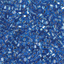 Japanese Miyuki 1.8mm CUBE Beads, SKU 189005.SB18-0019, sapphire silver lined, (1 tube, apprx 27-28 grams, apprx 2195 beads)