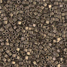 Japanese Miyuki 1.8mm CUBE Beads, SKU 189005.SB18-2006, matte metallic dark bronze, (1 tube, apprx 27-28 grams, apprx 2195 beads)