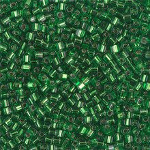 Japanese Miyuki 1.8mm CUBE Beads, SKU 189005.SB18-0016, green silver lined, (1 tube, apprx 27-28 grams, apprx 2195 beads)