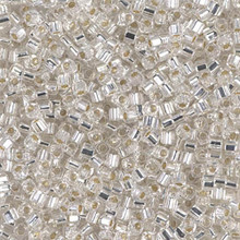 Japanese Miyuki 1.8mm CUBE Beads, SKU 189005.SB18-0001, crystal silver lined, (1 tube, apprx 27-28 grams, apprx 2195 beads)