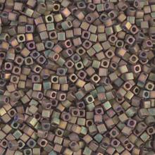Japanese Miyuki 1.8mm CUBE Beads, SKU 189005.SB18-2035, matte metallic khaki iris, (1 tube, apprx 27-28 grams, apprx 2195 beads)