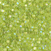 Japanese Miyuki 1.8mm CUBE Beads, SKU 189005.SB18-0258, transparent chartreuse ab, (1 tube, apprx 27-28 grams, apprx 2195 beads)