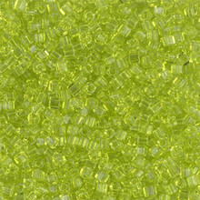 Japanese Miyuki 1.8mm CUBE Beads, SKU 189005.SB18-0143, transparent chartreuse, (1 tube, apprx 27-28 grams, apprx 2195 beads)
