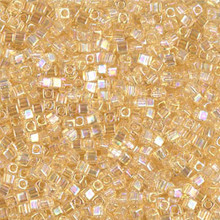 Japanese Miyuki 1.8mm CUBE Beads, SKU 189005.SB18-0251, transparent light topaz ab, (1 tube, apprx 27-28 grams, apprx 2195 beads)