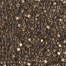 Japanese Miyuki 1.8mm CUBE Beads, SKU 189005.SB18-0457, metallic dark bronze, (1 tube, apprx 27-28 grams, apprx 2195 beads)