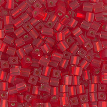 Japanese Miyuki 3x3 Cube Seed Bead, SKU 188003.SB3-0010F, matte silver lined flame red, (1 24-28gr tube, apprx 440 beads)