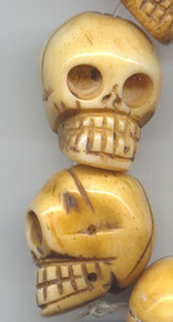 BONE: Oriental Bone Skull Bead, 15x22mm, (2 beads)