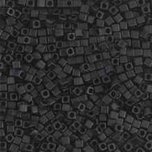 Japanese Miyuki 1.8mm CUBE Beads, SKU 189005.SB18-0401F, matte black, (1 tube, apprx 27-28 grams, apprx 2195 beads)
