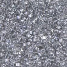 Japanese Miyuki 1.8mm CUBE Beads, SKU 189005.SB18-0242, sparkling pewter lined crystal, (1 tube, apprx 27-28 grams, apprx 2195 beads)