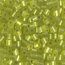 Japanese Miyuki 3x3 Cube Seed Bead, SKU 188003.SB3-0014F, matte silver lined chartreuse, (1 24-28gr tube, apprx 440 beads)