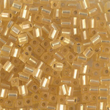 Japanese Miyuki 3x3 Cube Seed Bead, SKU 188003.SB3-0003F, matte silver lined gold, (1 24-28gr tube, apprx 440 beads)