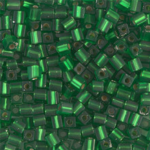Japanese Miyuki 3x3 Cube Seed Bead, SKU 188003.SB3-0016F, matte silver lined green, (1 24-28gr tube, apprx 440 beads)