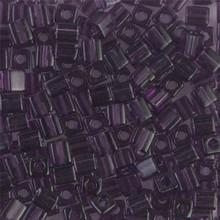 Japanese Miyuki 4x4 Cube Seed Bead. SKU 189004.SB4-0157, transparent amethyst, (1 24-28gr tube, apprx 336 beads)