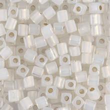 Japanese Miyuki 4x4 Cube Seed Bead. SKU 189004.SB4-0551, gilt lined opal, (1 24-28gr tube, apprx 336 beads)