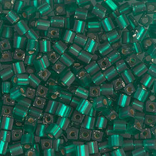 Japanese Miyuki 3x3 Cube Seed Bead, SKU 188003.SB3-0017F, matte silver lined emerald, (1 24-28gr tube, apprx 440 beads)